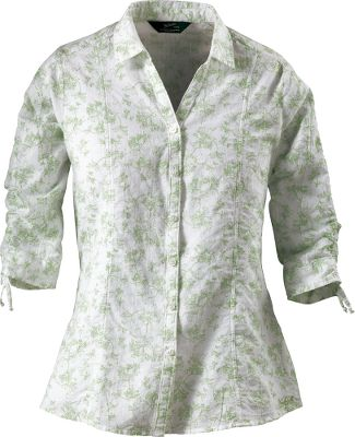 Beautiful floral patterns complement the skin-pleasing softness of pebble-washed cotton. Adjustable 3/4-length sleeves with self ties at the cuffs. Form-flattering front, back shaping seams and a curved hem. 3-oz. 100% cotton dobby. Imported.Center back length for size Medium: 28.Sizes: S-2XL.Colors: Avocado, Deep Sky. - $29.88