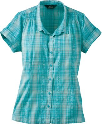 Smocked shoulder seams and attractive patterns make this shirt stand out from the rest. Pebble-washed dobby gives a broken-in look and feel, while body-shaping darts provide a clean, form-flattering fit. Button cuffs and side slits at hems. 100% cotton. Imported.Center back length for size Medium: 26.Sizes: S-2XL.Colors: Avocado, Sky, Aqua, Papaya. Type: Short Sleeve Shirts. Size: Small. Color: Sky. Size Small. Color Sky. - $9.88