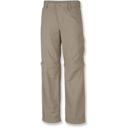 Cover all your bases and do away with indecision. The Columbia Silver Ridge II Convertible pants for boys are great for warm or cool weather, and let your young explorer customize his look. Ripstop nylon with Omni-Dry(R) treatment wicks moisture and speeds drying. Omni-Shade(TM) fabric provides UPF 30 sun protection, shielding skin from harmful ultraviolet rays. Leg sections zip off to convert pants into shorts. Plenty of space for valuables in the hand pockets and 2 cargo pockets. Gusseted crotch allows unrestricted range of motion. - $27.93