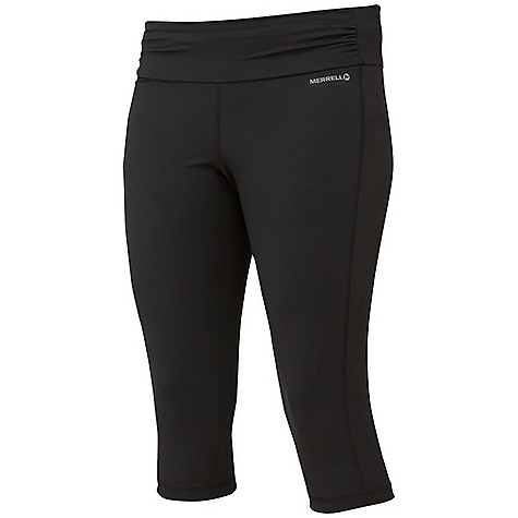 Merrell Women's Ellsworth Capri DECENT FEATURES of the Merrell Women's Ellsworth Capri Shirring at waist perfects fit and flatters Falls just below the knee The SPECS Inseam: 17.5in. Technology: Wick Super Stretch Jersey 78% Polyester, 22% Elastane 30+ UPF - $48.95