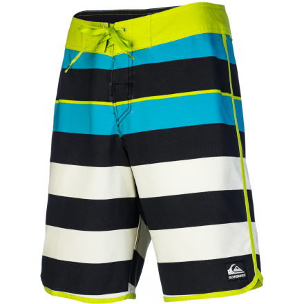 Surf It's about time you traded in the board shorts that go way past your knees with the neon contrast patterns for something a little more sharp. The Quiksilver Cypher Brigg Scallop Men's Board Short has a shorter outseam for a more grown-up look and features bold stripes that grab attention without hurting anyone's eyes, and the Diamond Dobby fabric is stretchy and comfortable so you can relax with cocktails on the beach while checking the latest stock market updates. - $58.50