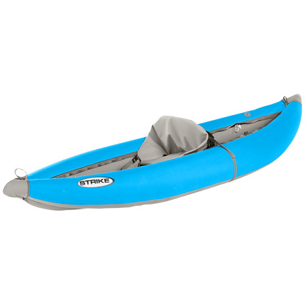Kayak and Canoe Tributary designed the Strike Inflatable Kayak for the paddler who demands a high performance kayak at a reasonable priceplus, this kayak won't take up a ton of room in your garage. This one-person kayak's contemporary styling makes it efficient to paddle on both flat water and in the rapidsthe bow and stern are upturned enough to deflect waves in whitewater but are flat enough not to be a problem in the wind. Tributary constructed the Strike with safety and stability in mindits extra wide construction remains maneuverable and all but eliminates the possibility of flipping. The Strike's durable urethane bladders, welded seams, and storage space make the boat a great choice for a day of hitting the rapids or for paddling long hours on a lightweight overnighter. - $898.95