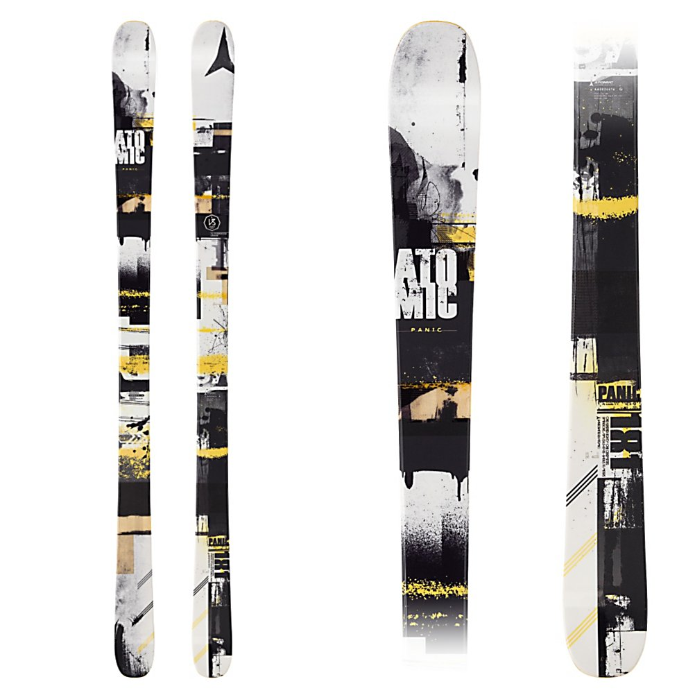 Ski Atomic Panic Skis - The Atomic Panic will make sure that you always have a cool and level head. This all mountain twin is a perfect ski for the lighter weight or lesser aggressive skier who can do a little bit of everything. At 87mm underfoot the Panic can be edgy on the groomers, and still have some fun floating in light powder. The All Mountain Rocker Profile has 20% rocker in the tip to keep you floating in powder, and initiating turns quick on the hard pack. 70% camber underfoot is for stability and rebound in any snow condition, and 10% of rocker in the tail, just to keep things playful. The solid wood core has a lively and snappy feel to it making the Panic a perfect ski for someone in the Midwest or East who will take a spin or two in the park, be does not want to limit themselves anywhere else on the mountain. The Panics Step Down Sidewalls gives the ski edge grip on the firm snow, but the half cap construction in the tip and tail makes the ski super playful for the lighter weight skier or teen. If you are looking for an all mountain twin that wont break the bank, that has a playful feel, the Atomic Panic will keep you cool... Don't worry. . Tip/Waist/Tail Widths: 123/87/113.5 (@173cm), Actual Turn Radius @ Specified Length: 18m (@173), Warranty: One Year, Type: All-Mountain Skis (75-90), Gender: Mens, What Binding is Included?: None, Construction Type: Cap/Sidewall, Core Material: Wood, Base Material: Sintered, Tail Profile: Twin, Special Features: Step Down Sidewall, Special Features: - $279.95