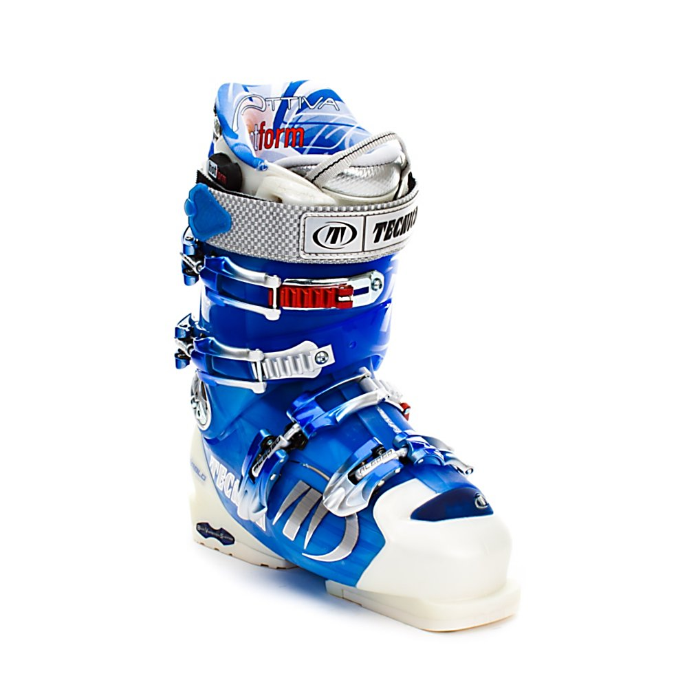 Ski Tecnica Attiva Flame HotForm '07 Womens Ski Boots - The Tecnica Attiva Flame Hot Form is a higher volume fit and softer flex than the Attiva Pro. The Attiva Flame offers performance for the female skier looking to carve high speed turns or cruising the groomers. The liner on the Attiva Flame is the HotForm Attiva Liner that allows you to heat mold the liner to provide you with a better fit. The Attiva Flame takes women's figure to mind when creating these boots as they feature a Scalloped calf design that forms to fit a women's calf and the Attiva Heel cradle will hold the heel in place and will keep you snug and comfortable into the boot. Features: Triple Position Cuff Catches, Attiva Rear Spoiler: removable, Attiva Scalloped Calf Design. Lining Material: HotForm Attiva Liner, Actual Flex: 80, Cuff Alignment: Dual, Warranty: One Year, Gender: Womens, Special Features: Rapid Access Cuff, Type of Boot: High Performance, Width: Medium (100-103mm), Shell Material: 3 Density Technology, Buckle Count/Type/Material: 4/Micro Adjustable/Aluminum, Features: F.I.T. System Tongue and Tongue Handle Pull Strap, Special Features: F.I.T. System Tongue and Tongue Handle Pull Strap, Flex: Medium, Race: No, Used: No, Ski/Walk: No, Prewired For Heat: No, Number of Micro Buckles: Four, Freestyle: No, Sidecountry: No, Forefoot Width: 100mm, Flex Adjustment: Yes, Buckle Count: 4, Buckle Material: Aluminum, Category: Downhill, Skill Range: Advanced - Pro, Model Year: 2007, Product ID: 218803 - $199.95