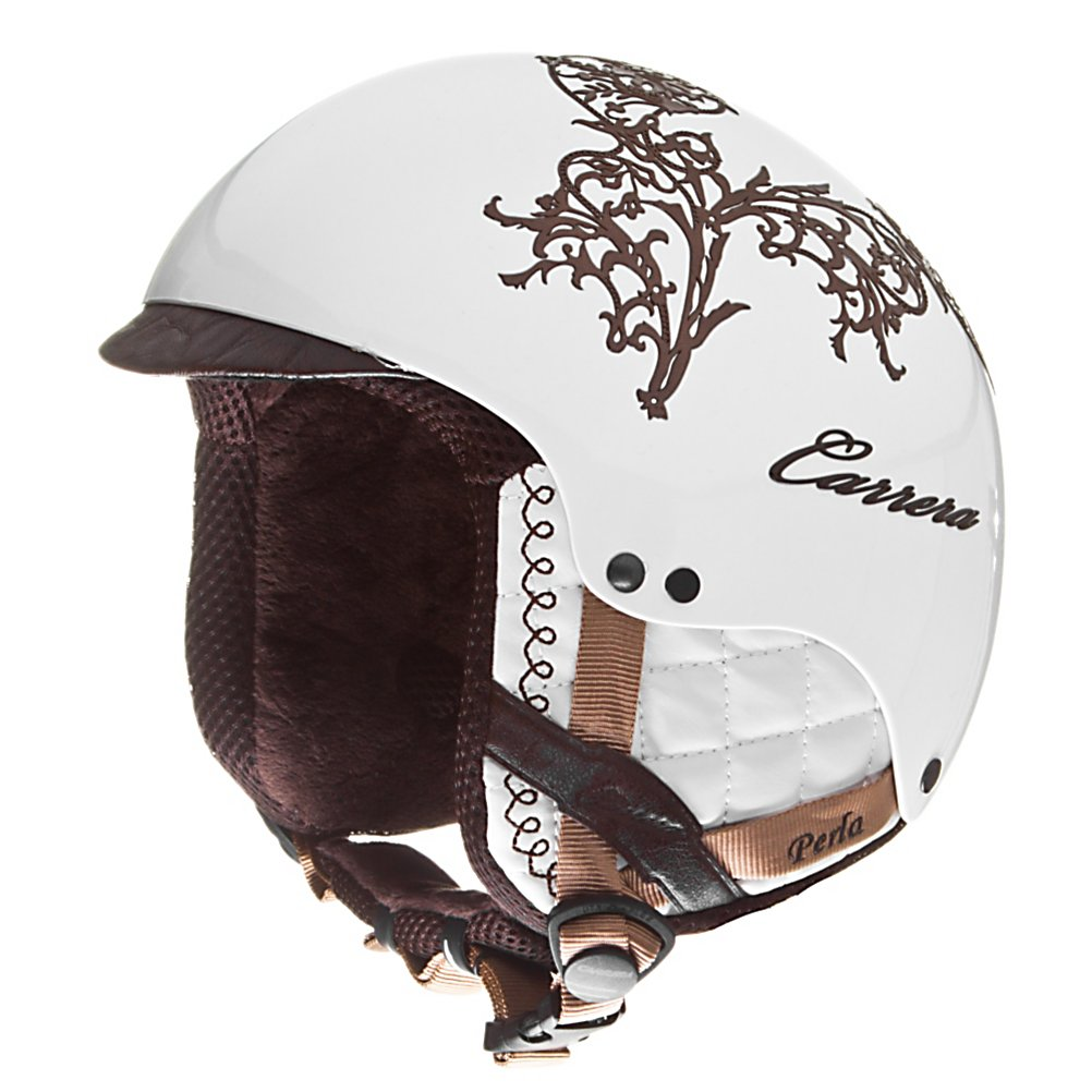 Ski Carrera Perla 2.10 Womens Helmet - This winter, keep your head protected against nasty falls and cold weather temperatures with the Carrera Perla 2.10 Helmet. With the Fiberglass Shell you'll have a lightweight helmet that will help absorb the shock if you take a spill. This helmet will not only look good on your head but feel good as well. The AFS Fitting System ensures a customized fit that won't hurt the range of motion of your neck and the Anallergic lining is soft to the touch. Great protection against the wind, cold and falls the Carrera Perla 2.10 Helmet is a great way to keep your ears and head warm while also guarding your head against serious injury. . Certifications: N/A, Warranty: One Year, Gender: Mens, Race: No, Category: Half Shell, Audio: Audio Compatible, Brim/Visor: Yes, Ventilation: None, Custom Fit Adjustment: Yes, Year Round Capable: No, Shell Construction: In Mold, Model Year: 2010, Product ID: 257949 - $49.95