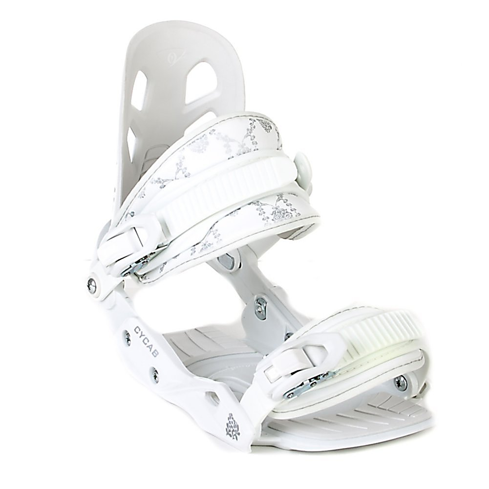 Snowboard Black Dragon A5 Womens Snowboard Bindings - The A5 from Black Dragon is a great beginner binding for someone looking to do some all-mountain riding. This binding features aluminum heel cups and plastic anatomical base plates. The A5 comes with a standard 2x4 hole base plate disc and is compatible with most boards. This white binding features a cute flowery print on the back to add a little style to your boarding experience. . Recommended Use: All-Mountain, Strap Material: Plastic, Flex: Soft, Toe Strap Style: Convertible, Warranty: One Year, Quick Entry: No, Canted Footbed: No, ICS Channel Compatible: No, Traditional Burton (3D) Compatible: No, Standard 4 Hole Compatible: Yes, Skill Range: Beginner - Intermediate, Model Year: 2007, Product ID: 265685, Gender: Womens, Skill Level: Beginner - $69.95