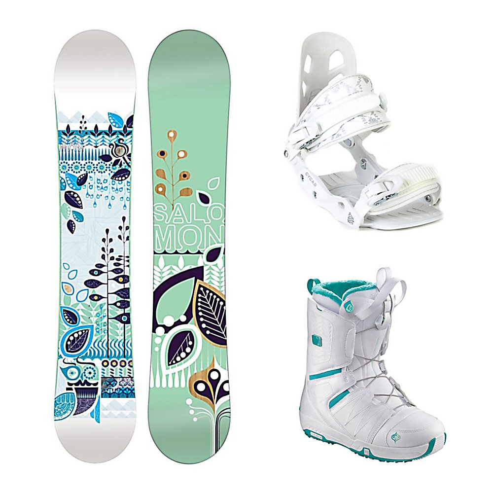 Snowboard Salomon Lotus A5 Pearl Womens Complete Snowboard Package - The Lotus snowboard from Salomon is first time user friendly. The catch-free ease of Flat profile makes the Lotus a confidence-boosting monster for learning the basics and sticking to your budget. The Lotus is easy turning and a smooth riding, easy to flex and super fun snowboard. The directional twin shape is for freestyle moves with a directional flex for power at high-speed. The binding stance is set back slightly from the center. Comes with a standard stone finish which is the industry benchmark for high-end boards, the only difference is the basic finish. The Lotus also is made with an Aspen wood core which makes for the foundation of a good board. The A5 from Black Dragon is a great beginner binding for someone looking to do some all-mountain riding. This binding features aluminum heel cups and plastic anatomical base plates. The A5 comes with a standard 2x4 hole base plate disc and is compatible with most boards. This white binding features a cute flowery print on the back to add a little style to your boarding experience. The Salomon Pearl Snowboard Boots offer effortless progression, unmatched convenience and a mellow flex. Salomon Speed Powerlace is always refining, improving and just got easier and more durable with a totally redesigned locking mechanism. The Feel Good Liner is cushy and secure and was inspired by Salomon's top-end liners. As a result the Feel Good has incredible comfort. Autofit Foam constructed with flat and full-length high-density memory foam, - $279.99