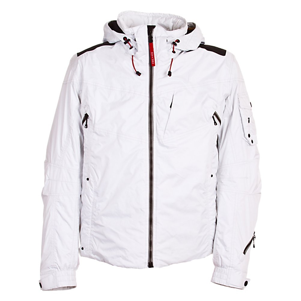Ski Bogner Fire + Ice Vince Mens Insulated Ski Jacket - The Bogner Fire and Ice Vince Ski Jacket reeks coolness multiplied by first-class weather protection. The Bogner Fire and Ice Vince Insulated Jacket is relaxed, with a longer, rounded seam at the back offering good coverage and warmth. The hood can be removed and refined with a fur trim, Pelz, which is sold separately. Highly functional outside and in. The inner fire red lining sets a sporty contrast. Lightweight micro ripstop waterproof fabric with tailored moto inspired design giving you a style and fit that is comfortable and easy to move in. Features: Adjustable sleeve width, Adjustable drawstring with stopper, Sleeves with thumb hole. Warranty: Lifetime, Cuff Type: Velcro, Wrist Gaiter: Yes, Waterproof Zippers: No, Cinch Cord Bottom: Yes, Model Year: 2012, Product ID: 266075, Insulator: No, Breathability: High Breathability (9000g-15,000g), Waterproof: Moderately Waterproof (5000mm-19,999mm), Insulation Type: Synthetic, Length: Medium, Cut: Regular, Type: Insulated, Rain Jacket: No, Race: No, Battery Heated: No, Use: Ski, Hood: Yes, Goggle Pocket: Yes, Electronics Pocket: Yes, Pockets: 4-5, Pit Zip Venting: No, Hood Type: Removable, Breathability Rating: 10,000g, Waterproof Rating: 10,000mm, Taped Seams: Critically Taped, Insulation Weight: N/A, Softshell: No, Exterior Material: Ripstop, Powder Skirt: No - $399.92