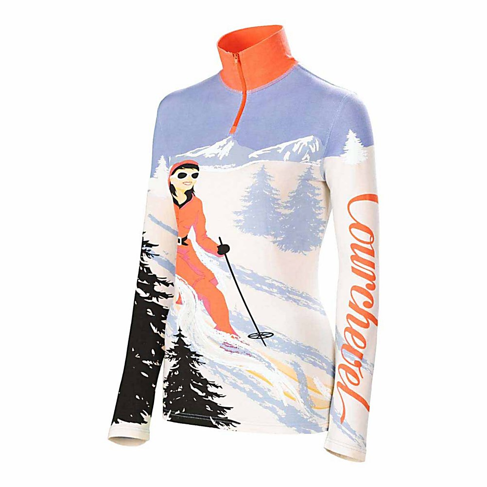 Ski Neve Designs Courchevel Zip Neck Womens Long Underwear Top - Oprah Magazine selected Neve's Courchevel Zip Neck style as a top holiday pick in the December 2011 - O List Favorite Things - Issue. As we wear this zip neck layer we would choose it as one of our favorite tops to wear as well. Maneuver through the mountain pine in a base layer that combines function and beauty. The ultra-soft Merino wool and silk blend, with spandex, gives the Neve Courchevel Zip Neck a perfect fit. Inspired by vintage posters, the cute ski motif will make you feel like you're in the Alps! . Bearing Grade: High Performance, Fit: Tight, Warranty: Other, Material: Wool/Synthetic Blend, Weight: Mid, Type: Top, Neck: Zip, Model Year: 2012, Product ID: 267604, Model Number: 042-XL - $99.99