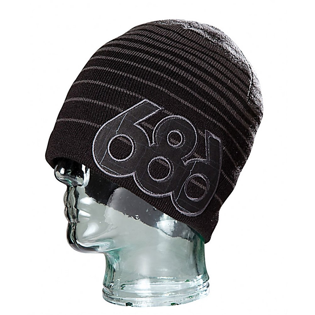 Snowboard 686 Surge Hat - The Surge Beanie by 686 has a lot going' on. Gradient stripes give this beanie a sick look, but 686 didn't stop there. They added a large fabric logo in a complimentary pattern on the side. Made from 100% Acrylic fibers the Surge Beanie will keep your ears warm and your head itch free all winter long. . Material: Acrylic, Lined: No, Model Year: 2011, Product ID: 306600, Type: Beanie, Battery Heated: No, Warranty: One Year - $14.99