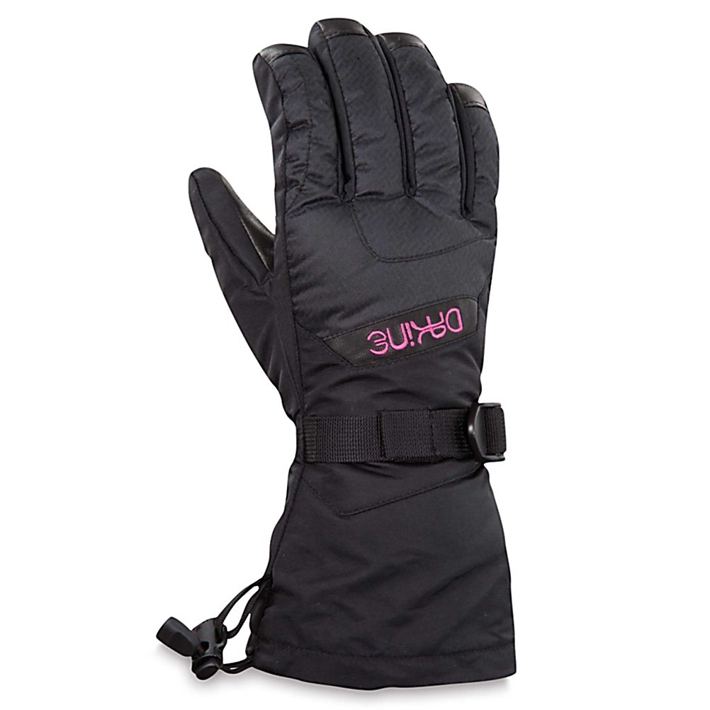 Ski Dakine Tahoe Womens Ski Gloves - This pair of Tahoe Gloves have a warmth index of 4, the amount of insulation and lining materials combined provides you with the warmest style ski mitten for the harsh conditions, better yet they will provide you with the superior warmth (5 being the warmest) that will keep you outdoors longer fulfilling your outdoor needs. Paired with the 350g of synthetic insulation you will experience an excellent balance in any weather conditions. This insulation is lightweight, highly breathable and resists moisture in wet conditions providing loft retention and an air space that holds heat and keeps your hands warm and protected. Other features include the nose and goggle wipe thumb panel and the one hand cinch gauntlet cuff closure that keeps out the un-wanted snow. Under severe weather conditions this pair of Tahoe Ski Gloves have been designed specifically to fit the womens hands for an ideal fit as well as keeping you hands dry, warm and comfortable all season long. When you really start ripping, the fixed tricot liner will move moisture away from your hands as you work up a sweat. . Removable Liner: No, Material: Nylon with DWR treatment, Warranty: One Year, Battery Heated: No, Race: No, Type: Glove, Use: Ski/Snowboard, Wristguards: No, Outer Material: Nylon, Waterproof: Yes, Breathable: Yes, Pipe Glove: No, Cuff Style: Over the cuff, Down Filled: No, Model Year: 2013, Product ID: 283111 - $40.00