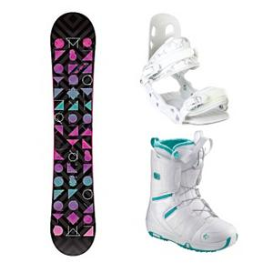 Snowboard Morrow Kava A5 Pearl Womens Complete Snowboard Package - The Morrow Kava is the top selling snowboard in the Morrow line. The Kava has a 100 percent Elevated wood core that will give you a smooth and responsive ride and combine that with Morr-Rock rocker you will also be able to land your tricks easier and it will prevent edge catch. A die-cut base makes this a durable board for speed and performance and the aggressive radial sidecut gives you quicker, more powerful turns. The Morrow Kava has been designed for women who want a top performing board in a stylish package. The A5 from Black Dragon is a great beginner binding for someone looking to do some all-mountain riding. This binding features aluminum heel cups and plastic anatomical base plates. The A5 comes with a standard 2x4 hole base plate disc and is compatible with most boards. This white binding features a cute flowery print on the back to add a little style to your boarding experience. The Salomon Pearl Snowboard Boots offer effortless progression, unmatched convenience and a mellow flex. Salomon Speed Powerlace is always refining, improving and just got easier and more durable with a totally redesigned locking mechanism. The Feel Good Liner is cushy and secure and was inspired by Salomon's top-end liners. As a result the Feel Good has incredible comfort. Autofit Foam constructed with flat and full-length high-density memory foam, located in the sensitive areas of the foot. The Pearl also has a cushion bamboo footbed which is not only comfy but the bamboo fiber cloth has natural antibacterial action. Any mountain, anywhere - the Pearl from Salomon. . Recommended Use: Freestyle, Snowboard Rocker Profile: Rocker, Package Type: Board, Boots, and Bindings, Product ID: 294836, Gender: Womens - $329.99