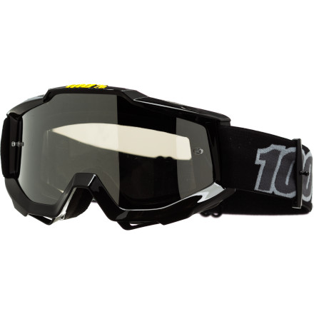 Snowboard The similarities between mountain biking and motocross is no secret, that's why we're seeing cross overs from the motorized to the self-propelled market. The 100% Accuri Goggles are one such product to make the leap. Proven on the dirt track, the 100% Accuri Googles are ready for the world of big mountain shuttles, bike parks, and downhill racing. Between you and the goggles' anatomic frame is a moisture-wicking, triple-layer foam that provides an unobtrusive, snug fit. For the frame, 100% constructed it from a flexible, yet durable urethane. And while its shape is curved in order to conform to the face, it's also optimized to provide an excellent field of vision. Vision is taken seriously in motocross for obvious reasons, and the advantages from years of experience translates into distinct advantages for 100% in the mountain biking marketplace. For example, there are over twenty aftermarket lenses available for every light condition imaginable -- from Clear to Rose. Even better, the easy of replacing lenses extends throughout 100%'s line of goggles, keeping cost down and ensuring that replacement parts are plentiful. And best of all, 100% has a full line of vision-enhancing, tear-off and roll-off accessories. This means that all 100% goggles are ready for muddy race courses and sloppy days riding lifts. The 100% Accuri Goggles are available in the colors Black, Black/cyan, Camosquito, Gunmetal, Reflex Blue, Subway, and Yellow. Lens colors vary per frame style, but the colors Clear, Silver, Blue Mirror, Mirror Gold, Mirror Red, and Mirror Green are your options. The goggles comes equipped with an anti-fog and scratch-resistant Lexan lens. The strap is extra wide at 45mm, and it's coated with silicone to prevent slippage. For added protection while exploring your limits, the goggles include a removable nose guard. - $44.95
