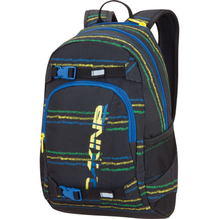 Camp and Hike When school is in session, send your boy off to class with the Dakine Grom Backpack. The main compartment has room for his books and folders, and a zippered front pocket helps him keep his pens and pencils organized. When school lets out for the summer, turn him loose at the skatepark for the day with his board strapped to the pack, a brown-bag lunch inside, and his water bottle stashed in one of the side mesh pockets. - $34.95