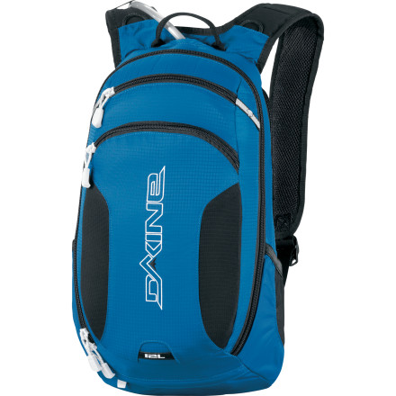 MTB The Dakine Amp 12L Hydration Pack has room for everything you need for a long day of action on the trails, no matter what your form of locomotion. In addition to a 100 ounce water reservoir to keep you hydrated, it has internal organizer pockets to store extra tubes, tools, snacks, and other essentials. To keep you from getting drenched with sweat when the sun's beating down, it has an Air Mesh suspended back panel that allows air to flow through to help you stay cool. When clouds roll in and rain threatens, put your shades away in the fleece-lined sunglasses pocket and pull out the deployable rain cover to keep your gear dry. Durable 630D nylon fabric resists tears in case you take a spill riding down the trail Air Mesh suspended back panel allows air to flow through to your back so you stay cooler and drier Deployable helmet carry holds your helmet when you don't need it Removable waist belt provides a snug fit 100-ounce (3 liter) reservoir holds water for a full day of outdoor activity Deployable rain cover keeps your gear dry if you get caught in a downpour Fleece sunglass pocket keeps lenses from getting scratched, and internal organizer pockets keep small items organized Rescue whistle in case of emergency - $124.95