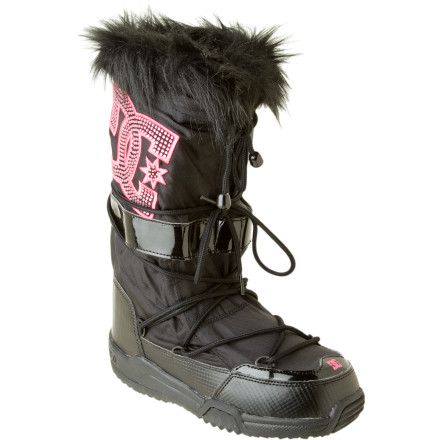 Skateboard Hit the winter party circuit in style wearing the DC Women's Chalet LE Boot. Details on this tall moon boot like a patent leg strap, frothy faux fur collar, and ultra-blingy, studded DC logo in this season's hottest color ensure that heads will turn as you stomp the streets of Sundance or wander through Winter Carnaval in Quebec. If you're going to be the center of attention you don't want to fall on your ass on an ice patch, so DC built the Chalet LE Boot with a sticky rubber sole; a comfy EVA midsole ensures that your feet can handle any all-day, all-night party you drop in on. - $52.50