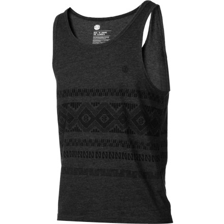 Skateboard Cotton and polyester washes and wears with dependable ease, so your Element Men's Clovis Tank Top is there for you every summery day. And with a funky tribal screen print on front and back of the tank, you'll have simplicity plus style. - $17.96