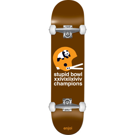 Skateboard Skateboarding, unlike other sports, requires two balls. That being said, the Enjoi Champs Complete Skateboard is a favorite among dudes who wear tights and take turns slapping each other's backsides. - $79.96
