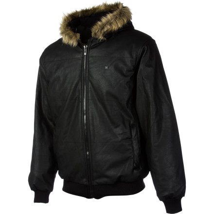 Set yourself apart from the pack with the KR3W Outkast Men's Jacket. The faux leather shell and faux fur hood trim will give you that gangsta vibe, but won't offend that cute vegan chick who works at the coffee shop that you've had your eye on. - $76.97