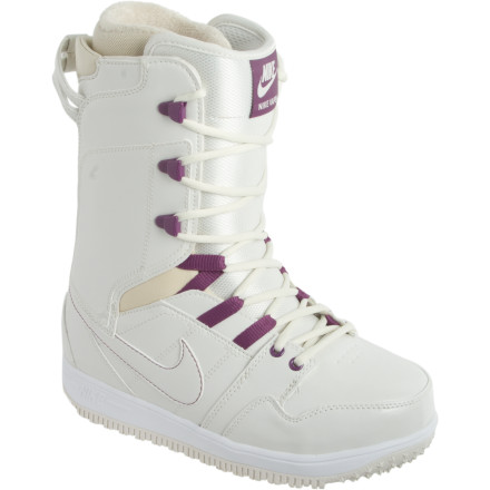 Snowboard Nike doesn't think the guys should get to have all the fun, which is why it is offering a women's version of its heralded Vapen Snowboard Boot. This all-mountain slayer with a soft spot for the park gives you tweakable flex and amazing comfort along with remarkably low weight. This low-volume, skate-shoe-like boot delivers a close custom-feeling fit thanks to the heat-moldable liner and Harness Lockdown lacing, which minimizes heel lift for maximum control. - $139.97