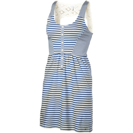 Entertainment Realize your summery fantasies in the sexy, sporty O'Neill Women's Nautical Dreams Dress, with seafaring style in easy-wearing cotton jersey. A front placket with buttons makes dressing a cinch, and the crochet back gives it sass. An elastic waist lets you wear this fun frock any day in all-day comfort. - $35.51