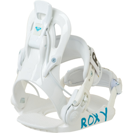 Snowboard Roxy's Rock-It Ready Snowboard Bindings feature a reclining highback to make strapping in easier than ever, and a forgiving flex built for comfort and durability. Set-and-forget straps let you dial in the fit to your kid's boot size, and the ultra-convenient folding design means they're ready to go with the flip of one lever. - $68.97