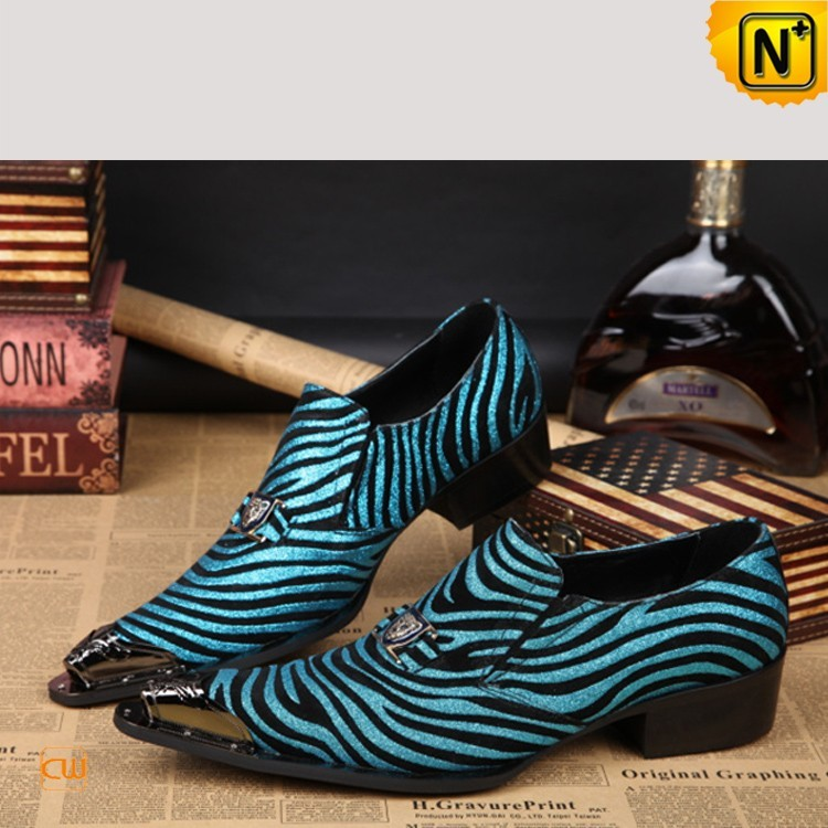 Mens Exotic Zebra Print Leather Dress Shoes CW751527 - Thrill On c65a3a5f3