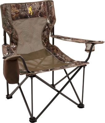 Camp and Hike A sturdy chair thats built to last. Powder-coated steel frame holds up to an 800-lb. weight capacity. One right-hand zippered cooler bag and a left-hand mesh cup holder. Reinforced mesh center keeps you cool on hot days. Folds up for transport in the included 7 x 41 carry bag. 600-denier fabric. Imported. Seat width: 24-1/2. Seat depth: 18. Height: 38. Carry weight: 13-1/2 lbs. Weight capacity: 800 lbs. Camo pattern: Realtree AP. Color: Camo. - $69.99
