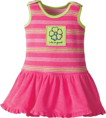 Entertainment The perfect warm-weather dress made of comfortable, soft terry cloth. Yarn-dyed, striped top features an attached ruffled skirt and panties. Snap shoulders. Life is good appliqu on the front. 80/20 cotton/polyester. Imported.Sizes: 0-3 mo., 3-6 mo., 6-12 mo., 12-18 mo., 18-24 mo.Color: Hot Pink. - $19.88