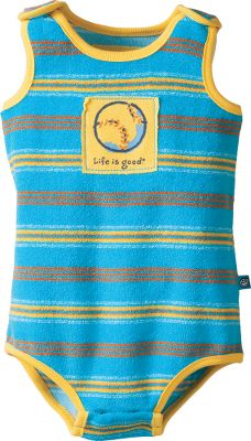 The perfect solution to warm-weather days out with your little guy. Snap shoulders and crotch. 80/20 cotton/polyester 6.8-oz. terry cloth. Yarn-dyed stripes. Life is good appliqu on the front. Imported.Sizes: 0-3 mo., 3-6 mo., 6-12 mo., 12-18 mo., 18-24 mo.Color: Summer Turquoise. Type: Onesies. Size: 0-3 Months. Color: Summer Turquoise. Size 0-3 Month. Color Summer Turquoise. - $17.88