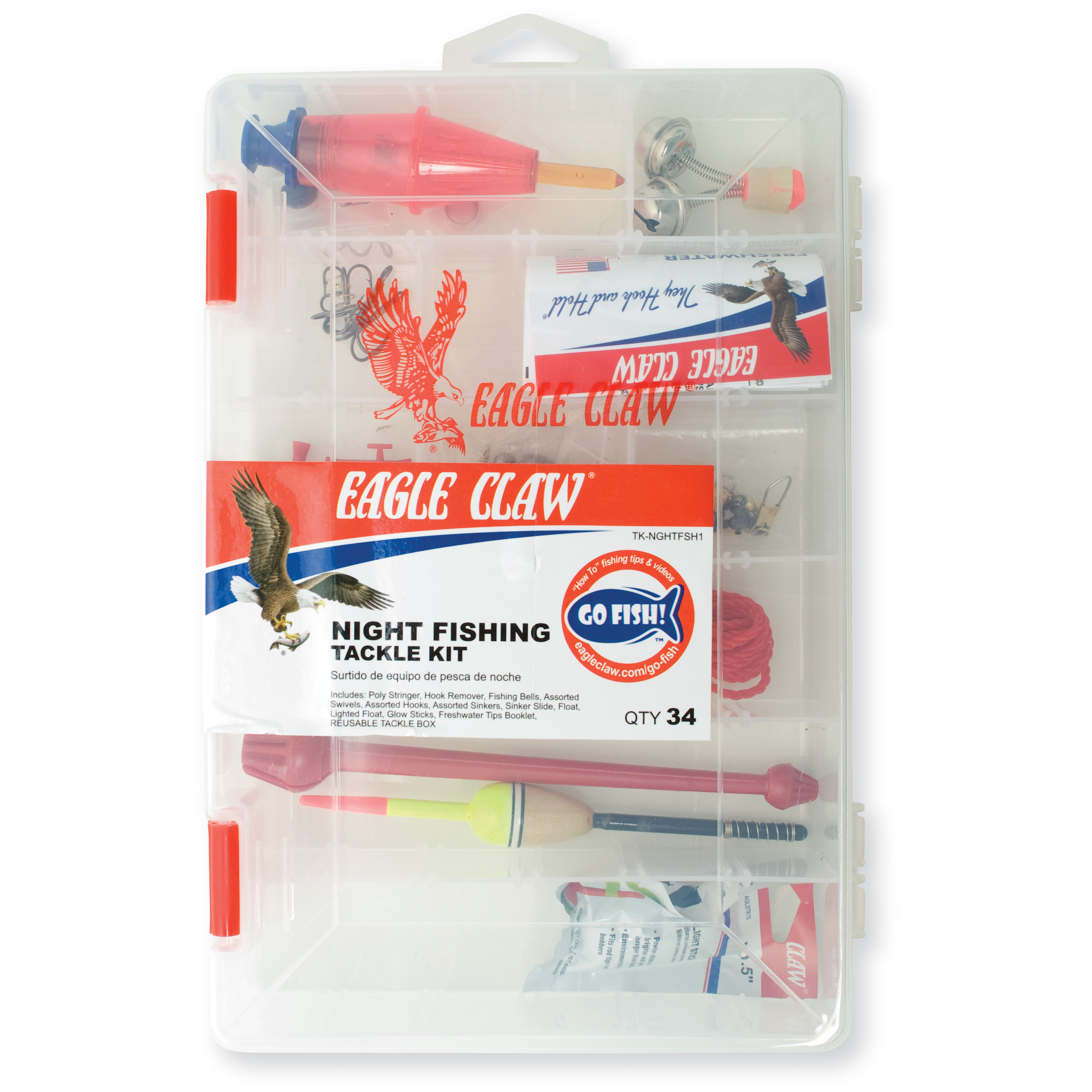 Eagle claw night fishing tackle kit thrill on for Fish tagging kit