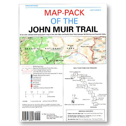 The John Muir Trail Maps - Package of 13 provides 6-color coverage of the John Muir and Pacific Crest Trails between Mt. Whitney and the Yosemite Valley. - $21.95