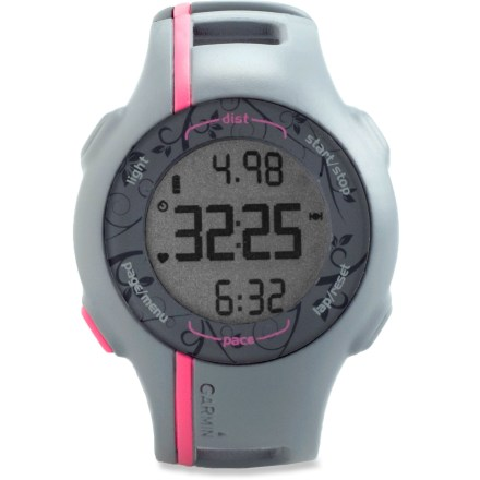 Fitness The women's Garmin Forerunner 110 GPS heart rate monitor does away with confusing functions and button sequences to create an easy-to-use watch that gives reliable speed, distance and heart rate data. - $99.83