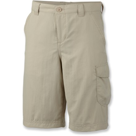The Columbia Silver Ridge II shorts for boys will go the distance. Tough and durable but light enough to keep him cool in warm temperatures, he'll grab them first every time. Omni-Wick(TM) nylon fabric draws moisture away from skin to keep him dry and comfortable even when working up a sweat. Integrated Omni-Shade(TM) UPF 30 sun protection continuously guards against harmful ultraviolet rays so his skin stays safe no matter how long his day lasts. Interior adjustable waistband allows for personalized fit. Front hand pockets and 1 side cargo pocket provide easy storage. - $18.93