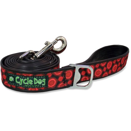 Entertainment The Cycle Dog Red Space Dots dog leash is made of old bike tubes; the tough and stylish leash leads your furry friend while saving materials from going to the landfill. Flexible and non-absorbent tube material dries quickly and resists fraying. The Cycle Dog Red Space Dots dog leash features a handy accessory loop that doubles as a bottle opener. - $17.93