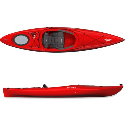 Kayak and Canoe Fun, easy and designed with plenty of storage, the Dagger Zydeco 11.0 kayak excels during the out-and-back adventure. The Dagger Zydeco 11.0 is great for paddlers of all ages and skill levels on ponds, lakes and slow-moving rivers. Polyethylene construction offers performance, responsiveness and rugged durability. 11 ft. length cruises efficiently, accelerates quickly and maneuvers responsively. Seat and back pads use soft, contoured foam covered in a textured stretch material for plush comfort and protection from the cold; large cockpit increases comfort. Backrest with side-mounted cam buckle and durable webbing allows simple adjustments while seated in kayak. Soft knee pads attach either inside the cockpit or on the exterior, offering customizable comfort. Adjustable foot pegs keep you in a comfortable paddling position. Paddle keeper frees up hands for photography or fishing. Touring-style deck rigging offers quick access to necessities. Bulkheaded stern hatch offers dry storage for day tripping essentials. Carrying toggles make transport of the 48 lb. Dagger Zydeco 11.0 kayak easy and convenient. - $466.59