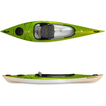 Kayak and Canoe A bit bigger than the Santee 116, the Hurricane Kayaks Santee 116 Sport kayak offers a little more depth and space in the cockpit plus features made for all-day touring or shorter trips. Perfect for touring lakeshores or lazy rivers, the Santee 116 Sport tracks well and moves efficiently through the water for an enjoyable day on the water. Trylon thermoformed ABS plastic hull material is stiff and light like traditional composite kayaks and offers similar looks, but it costs considerably less. Newly redesigned AireStream seat back is lightweight and incredibly breathable thanks to a contoured support frame covered with soft mesh fabric that maximizes air flow. To adjust the seat back for personalized fit, simply pull seat back forward to unlock, adjust and push back to relock. Crisp entry lines, excellent stability and responsive turning make the Santee 116 Sport an outstanding boat for all-around use. Extra-large cockpit opening facilitates gear storage-an extra cooler, a large dry bag or a midsized, 4-legged friend can come along for the ride. Storage areas on the side of the seat hold beverages and small items such as lip balm, sunscreen and a safety whistle. Stern deck rigging keeps extra gear within easy reach, and bulkheaded stern and bow with watertight hatches keeps items dry. Carry handles ease transport to the water. - $999.00