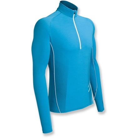 Fitness Designed for running in cool weather, the Icebreaker Sonic Long-Sleeve Half-Zip top uses the natural properties of merino wool to enhance comfort. Lightweight merino wool and spandex jersey fabric offers high performance with light stretch, and its smooth surface enhances comfort. Fabric wicks moisture and dries quickly, and you won't have to worry about traditional odors associated with workout clothing because merino wool resists odors naturally. Mesh underarm and back panels ventilate to enhance comfort. Stash pocket at hem stores small items. Thumbholes warm wrists during cold weather. Reflective logo. The Icebreaker Sonic Half-Zip top offers a slim fit. Machine washable. - $59.83