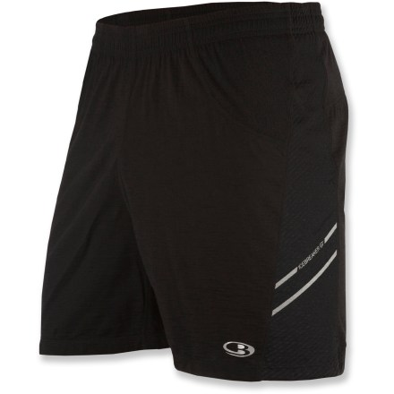 Fitness The men's Icebreaker Sonic shorts with 5 in. inseam keep you comfortable during the run thanks to the natural feel of merino wool. Lightweight merino wool jersey fabric in shorts and liner offers high performance with natural stretch, and its smooth surface enhances comfort. Fabric wicks moisture and dries quickly, and you won't have to worry about traditional odors associated with workout clothing because merino wool resists odors naturally. Mesh side panels ventilate to increase breathability. Internal pocket stores a key or ID. Elastic waistband with drawcord secures the fit. Reflective logo. The Icebreaker Sonic shorts are machine washable. - $39.83