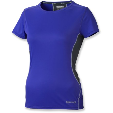 Fitness You'll love the cool feel of the Marmot Outlook T-shirt during warm days on the trail, around the neighborhood or in the gym. Quick-drying, moisture-wicking polyester fabric helps keep skin safe from harsh UV light with a UPF rating of 50+. Fabric features a recycled silver salt treatment that reduces odors and won't wash away. Mesh fabric panels increase breathability. Flatlock seams reduce chafing, and tag-free neckline won't irritate skin. Reflective logos enhance visibility in dim light. The Marmot Outlook T-shirt is semifitted. - $30.93