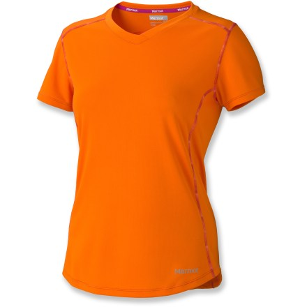 Fitness Smile and enjoy the view from the trail in the cool and fresh Marmot Kate T-shirt. Quick-drying polyester fabric helps keep skin safe from harsh UV light with a UPF rating of 50+. Placed forward of the shoulder, flatlock seams reduce chafing, and tag-free neckline won't irritate skin. Reflective logos enhance visibility in dim light. The Marmot Kate T-shirt is semifitted. - $25.93
