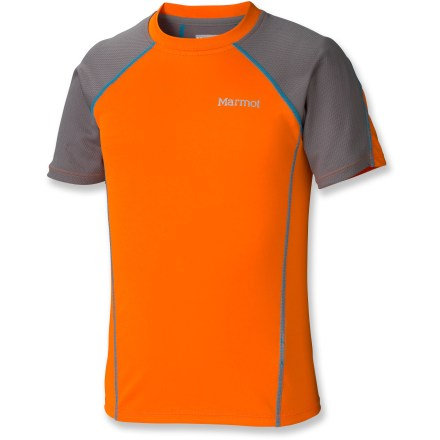 Your outdoor enthusiast will be ready to go in any situation with the Marmot Agile T-Shirt. Lightweight, breathable fabric ensures comfort while UPF 50+ sun protection keeps him covered. Polyester jersey and mesh provide comfortable coverage during warm weather or aerobic activity; quick-dry and wicking capabilities keep him dry when working hard. Fabric has built-in UPF 50+ sun protection, minimizing sun exposure while spending time outside. Raglan sleeve style allows full mobility and reduces chafing while carrying a pack. Comfort is a top priority with forward side seams to reduce chafing and tag-free neckline that reduces irritation. - $16.93