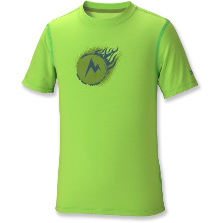 Camp and Hike It will be difficult to keep your boy from heading out to space in the Marmot Cosmic T-Shirt. Lightweight fabric with sun protection and a touch of stretch make it possible for anything to happen. Polyester fabric with elastane wicks away moisture and dries quickly, perfect for backpacking through the woods or exploring a new city. Sun protection of UPF 20 provides guards against too much UV exposure. Tag free neckline improves comfort for wearing day after day. - $14.93
