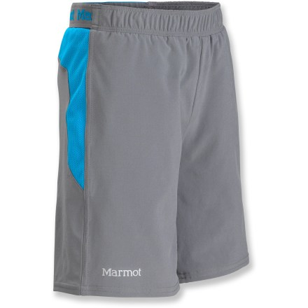 The Marmot Ascend shorts for boys stays up to speed with lightweight materials, giving him full reign to comfortably explore every corner of the world around him. Polyester jersey wicks and dries quickly and offers integrated UPF 30 sun protection; a touch of stretch ensures mobility to keep pace with every movement. Mesh paneling on sides and back adds breathability where needed; elastic waistband contains internal drawcord for a secure, customizable fit. Interior briefs provide support and comfort. 2 front hand pockets provide easy storage; 1 rear zippered pocket keeps small valuables safe when on the go. Marmot Ascend shorts have a 4 in. inseam. - $23.93