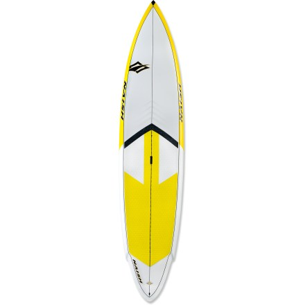 Surf Built for speed and efficiency, the Naish Glide Touring GS 12 ft. stand up paddleboard cuts through chop with a displacement-style hull, carving a line through flatwater or light surf. 12 ft. length maximizes speed and maneuverability on flatwater and chop; the Glide excels at downwinders, flatwater tours and even recreational racing. 30 in. width provides great stability for paddlers of all abilities. Glass composite construction layers start with a molded EPS foam as the core which bonds to glass layers that protect and seal the EPS core against any water leakage. An extra layer of wood reinforces the stance platform and adds durability by wrapping around the rails, enhancing the rigidity and strength of the board. Outer glass layer seals it all up and maximizes impact resistance so you can enjoy your Glide for many seasons to come. Pronounced double-concave bottom starts in the nose and continues to a V-shape in the tail to promote straight tracking and increase directional stability. Flat rocker, high-volume nose and specialized tail add stability that paddlers of all abilities will appreciate. Integrated deck pad provides exceptional grip when surfing and paddling flatwater; wood veneer under deck pad increases durability and responsiveness. Center handle is shaped like a ledge, not just a flat slot with finger holes, and it allows you to really get a grip by curving your fingers inside the board. You can even pick up the board when it's flat on the ground with this ledged carry handle. The Naish Glide Touring GS 12 ft. stand up paddleboard features a 10.5 in. fin for increased tracking. - $1,278.93