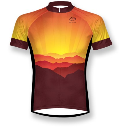 Fitness Don't let the sun go down on your ride to glory with the bright Primal Render bike jersey, which offers great moisture management for all-day rides that head off into the sunset. Double-knit polyester fabric pulls moisture away from body and pushes it to the outside face of the fabric, helping keep you cool and dry as you pedal. Fabric provides UPF 35 sun protection, shielding skin from harmful ultraviolet rays. Hidden 3/4-length front zipper allows ventilation control. 3 back pockets hold your energy food and other essentials. Droptail hemline offers extended coverage in back. Sport cut is not too tight and not too loose. Primal Render bike jersey sports raglan sleeves, where the seams have been rolled off of the shoulders for enhanced comfort. - $48.93