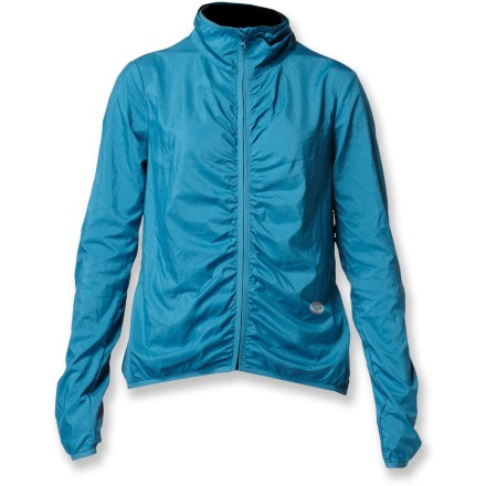 Fitness When it's windy and drizzling, the Roxy Atmosphere jacket does its best work so you can get your best workout. Soft, lightweight fabric resists light wind and moisture thanks to a Durable Water Repellent finish. Zippered pocket stores small items and works with your media player. Extended cuffs can be pulled over hands to fend of chilly weather. Jacket features elastic gathering at rear sleeves and along center back. The Roxy Atmosphere jacket packs into its own pocket so you can easily tote it along if the skies look iffy. - $60.93