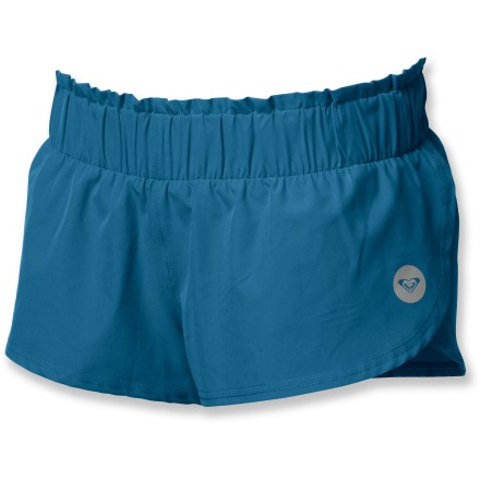 Fitness Combining a relaxed, beachside look with performance fabric, the Roxy Split Water shorts are ready for your toughest workouts. Inner liner and outer shorts dry quickly, wick moisture and offer 4 way-stretch. Elastic waistband dials in the fit. Semifitted Roxy Split Water shorts are not too tight and not too loose. - $11.83