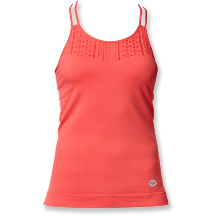 Fitness The Roxy Perfectly Seamless tank top stands out from the crowd with a fun look and keeps you comfortable on the run with performance fabric. Fabric wicks moisture, feels soft against skin and won't chafe during the run because the fabric seams are flat. The Roxy Perfectly Seamless tank top features mesh zones to increase ventilation and a built-in shelf bra that offers light support. - $13.83