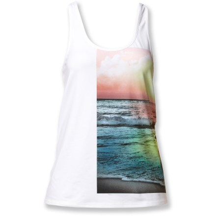 Fitness Casual styling and performance fabric make the Roxy Cut Back tank top a great choice for fitness. Breathable polyester and spandex fabric wicks moisture to keep you comfortable. The Roxy Cut Back tank top offers a relaxed fit. - $10.83